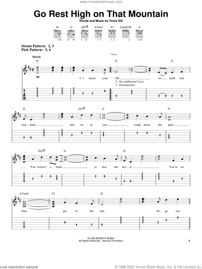 Go Rest High On That Mountain sheet music for guitar solo (easy tablature) by Vince Gill, easy guitar (easy tablature)