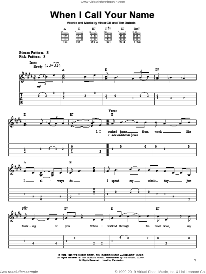 When I Call Your Name sheet music for guitar solo (easy tablature) by Vince Gill and Tim Dubois, easy guitar (easy tablature)