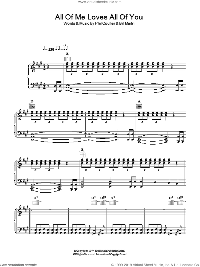 All Of Me Loves All Of You sheet music for voice, piano or guitar by Bay City Rollers, Bill Martin and Phil Coulter, intermediate skill level
