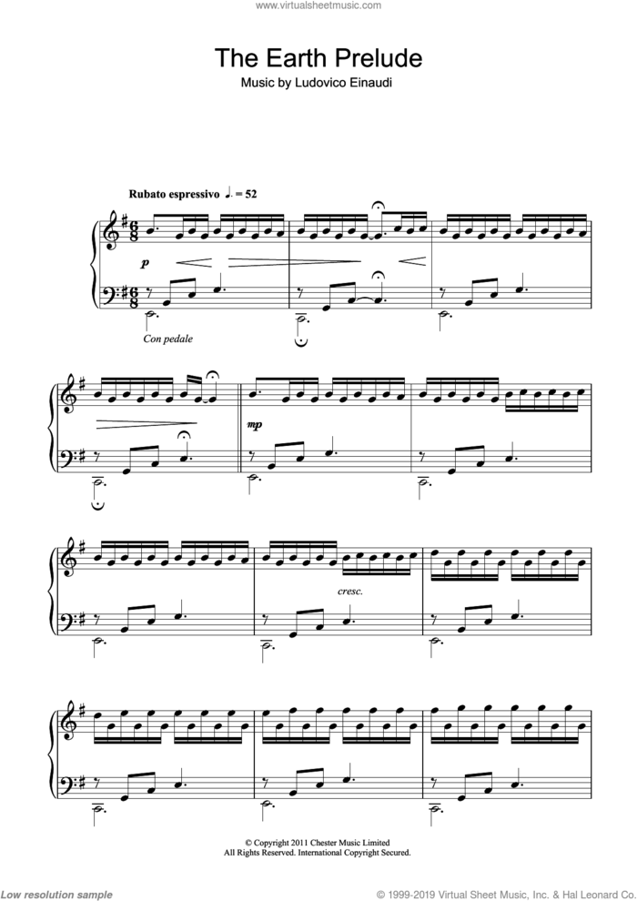 The Earth Prelude sheet music for piano solo by Ludovico Einaudi, classical score, intermediate skill level