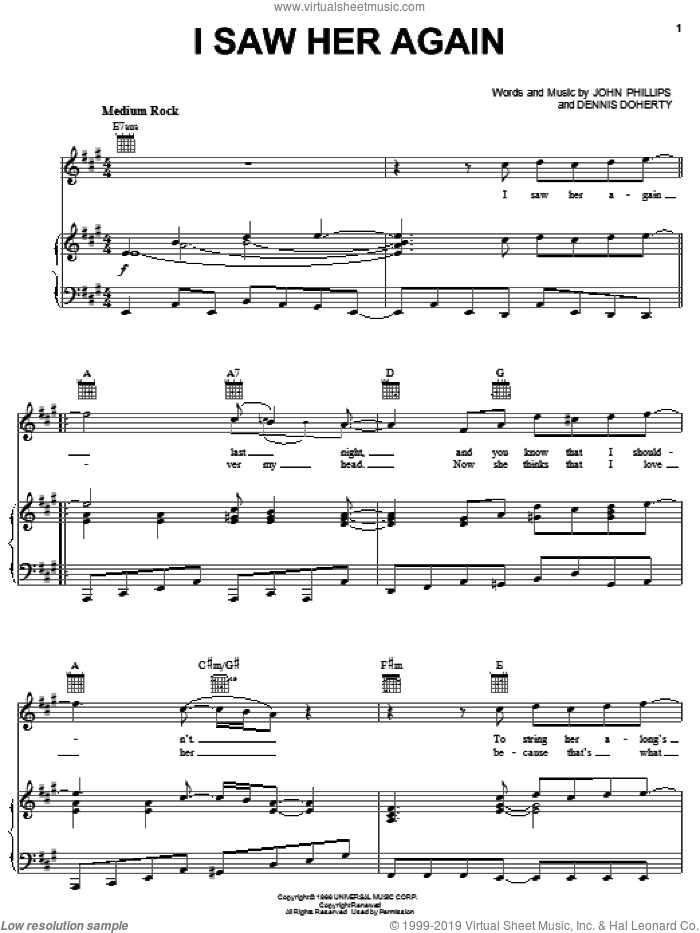 I Saw Her Again sheet music for voice, piano or guitar by The Mamas & The Papas, Dennis Doherty and John Phillips, intermediate skill level