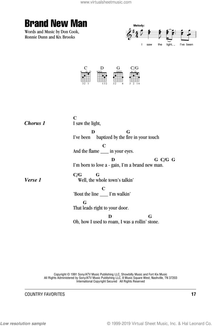 Brand New Man sheet music for guitar (chords) by Brooks & Dunn, Don Cook, Kix Brooks and Ronnie Dunn, intermediate skill level