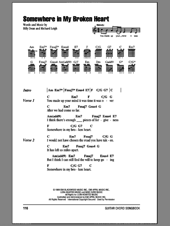 Somewhere In My Broken Heart sheet music for guitar (chords) by Billy Dean and Richard Leigh, intermediate skill level