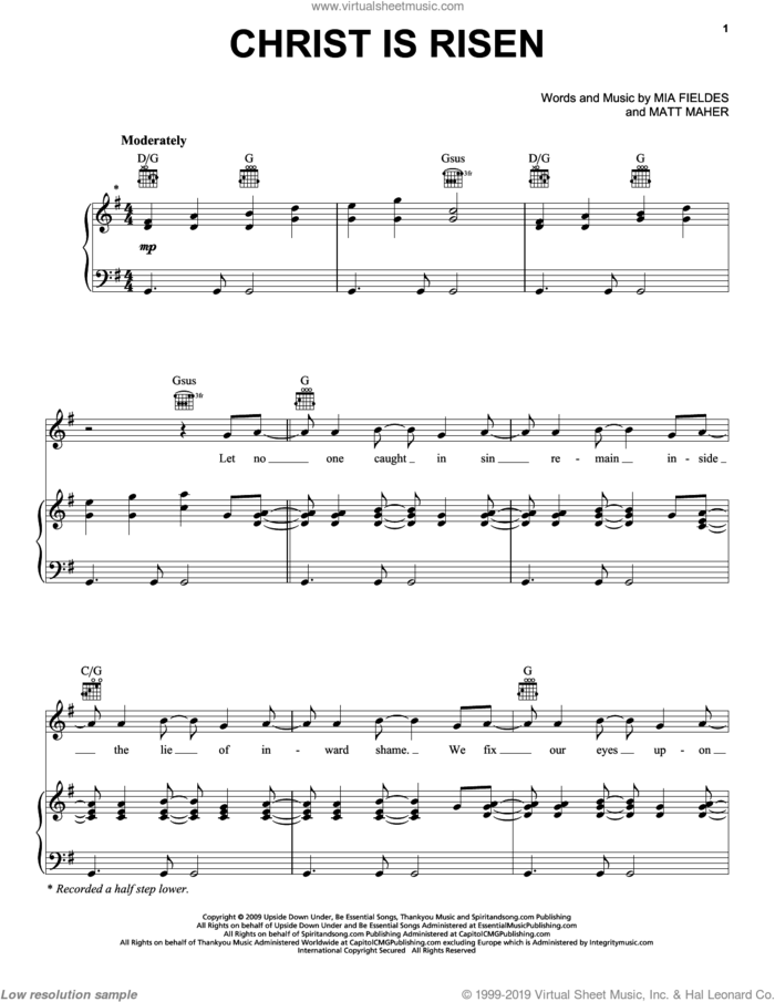 Christ Is Risen sheet music for voice, piano or guitar by Mia Fieldes and Matt Maher, intermediate skill level