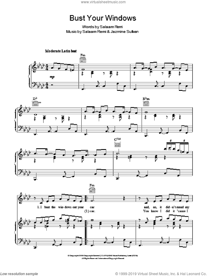 Bust Your Windows sheet music for voice, piano or guitar by Jazmine Sullivan and Salaam Remi, intermediate skill level