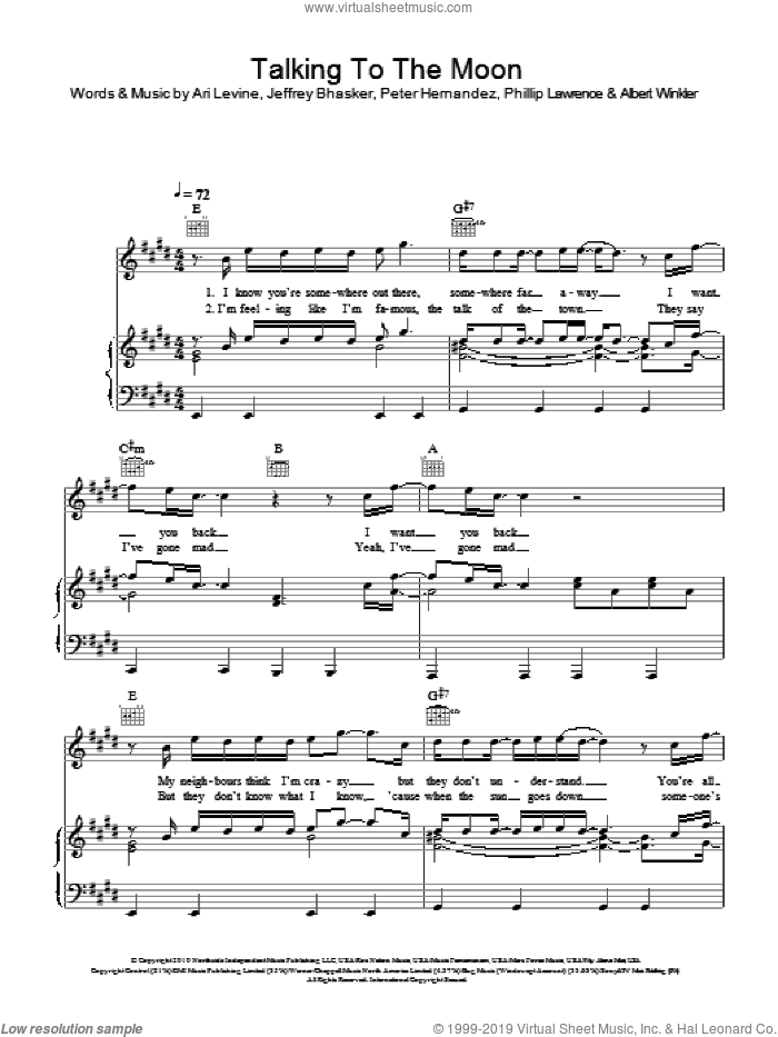 Talking To The Moon sheet music for voice, piano or guitar by Bruno Mars, Albert Winkler, Ari Levine, Jeffrey Bhasker, Peter Hernandez and Philip Lawrence, intermediate skill level
