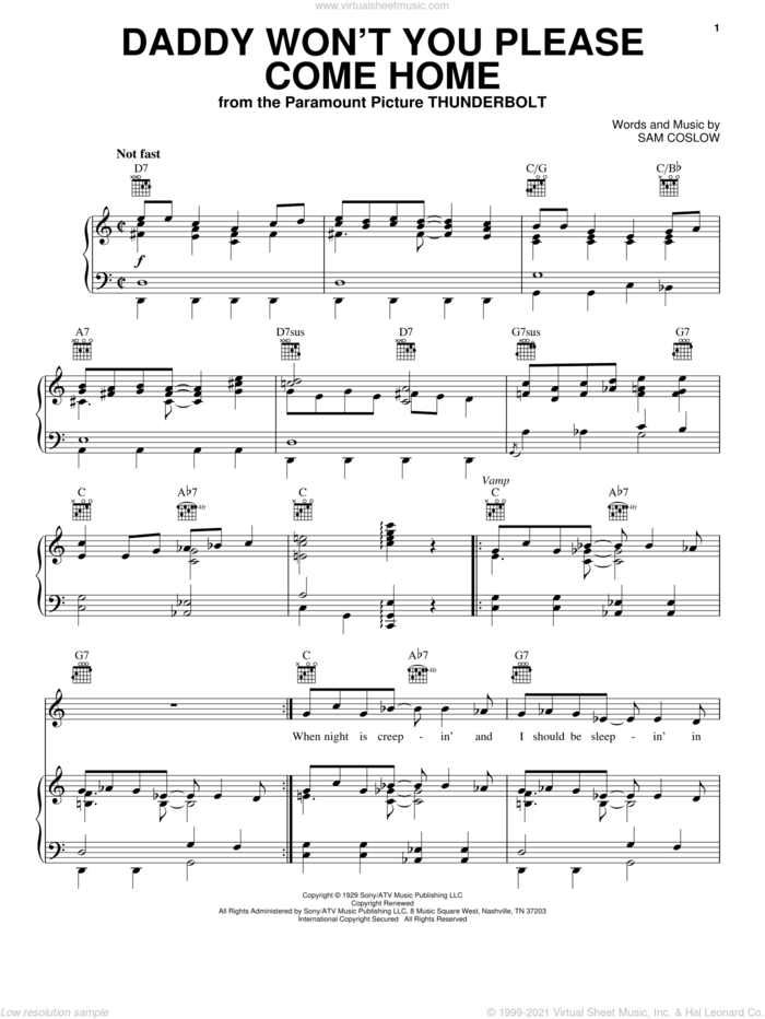 Daddy Won't You Please Come Home sheet music for voice, piano or guitar by Sam Coslow, intermediate skill level
