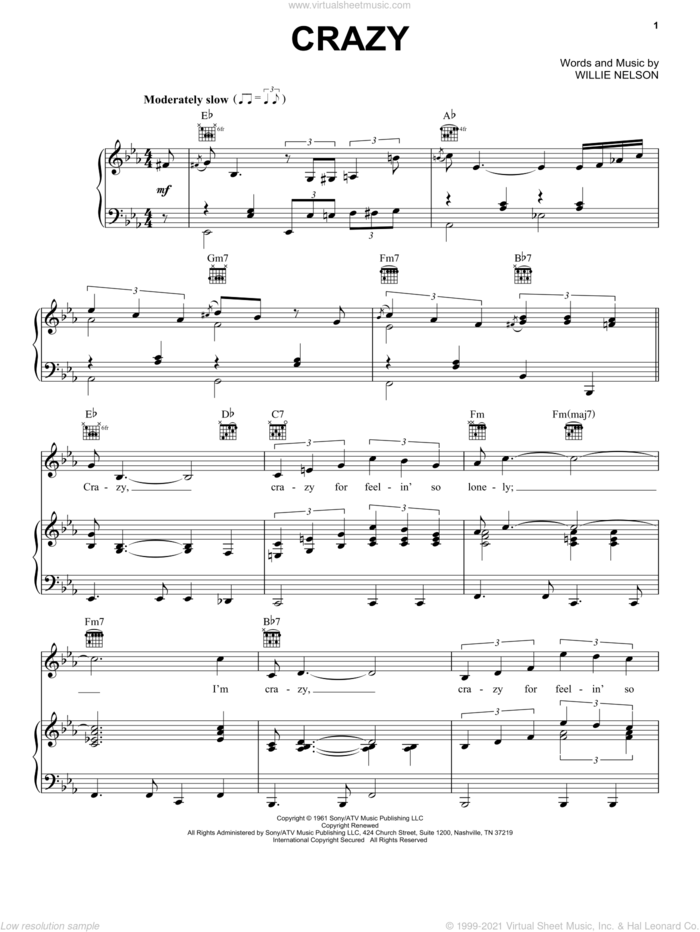 Crazy sheet music for voice, piano or guitar by Patsy Cline and Willie Nelson, intermediate skill level