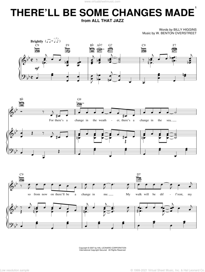 There'll Be Some Changes Made sheet music for voice, piano or guitar by Billy Higgins and W. Benton Overstreet, intermediate skill level