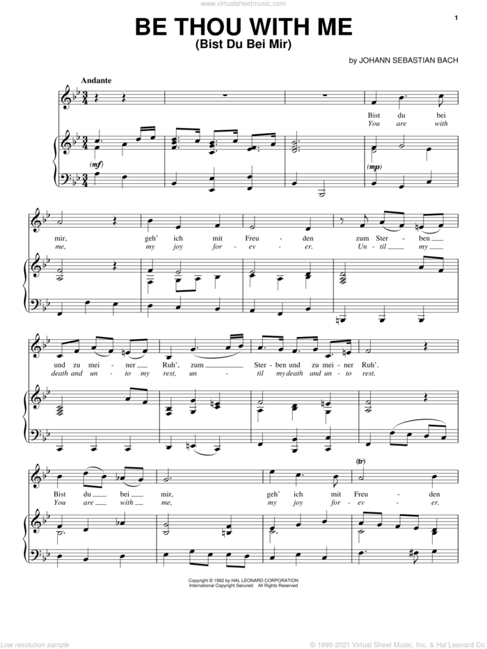 Bist Du Bei Mir (You Are With Me) sheet music for voice, piano or guitar by Johann Sebastian Bach, classical wedding score, intermediate skill level