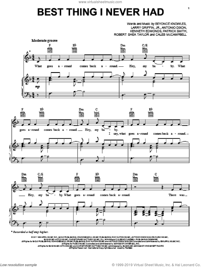 Best Thing I Never Had sheet music for voice, piano or guitar by Beyonce, Antonio Dixon, Caleb McCampbell, Kenneth EdmondsJr., Larry Griffin, Jr., Patrick Smith and Robert Shea Taylor, intermediate skill level