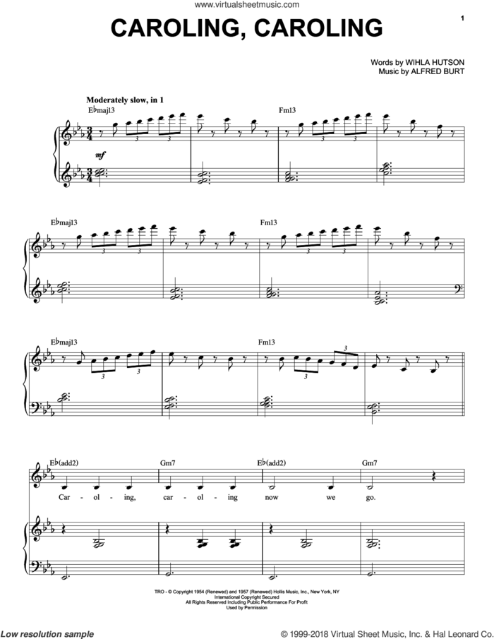 Caroling, Caroling sheet music for voice and piano by Natalie Cole, Alfred Burt and Wihla Hutson, intermediate skill level
