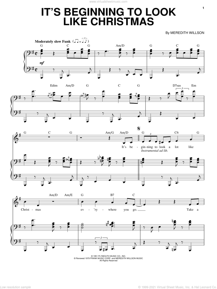 It's Beginning To Look Like Christmas sheet music for voice and piano by Katharine McPhee and Meredith Willson, intermediate skill level
