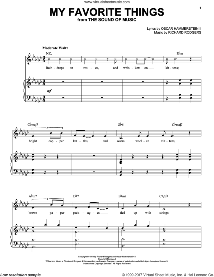 My Favorite Things sheet music for voice and piano by Julie Andrews, Rodgers & Hammerstein, The Sound Of Music (Musical), Oscar II Hammerstein and Richard Rodgers, intermediate skill level