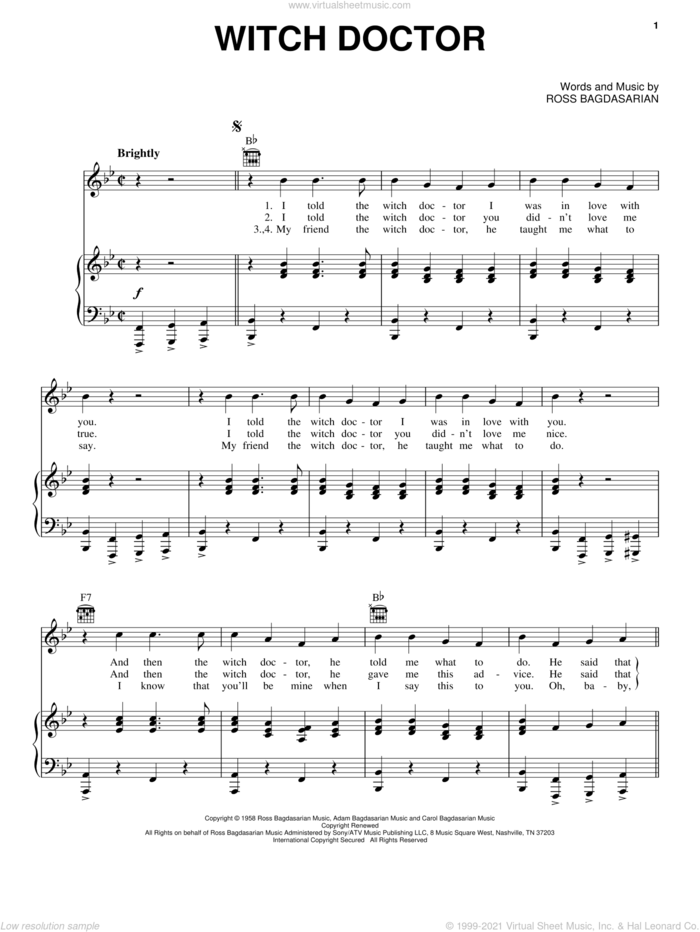 Witch Doctor sheet music for voice, piano or guitar by Alvin And The Chipmunks and Ross Bagdasarian, intermediate skill level