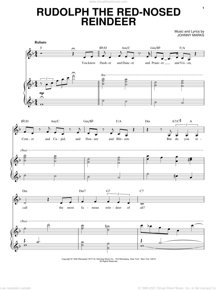 Rudolph The Red-Nosed Reindeer sheet music for voice and piano by Patti Page and Johnny Marks, intermediate skill level