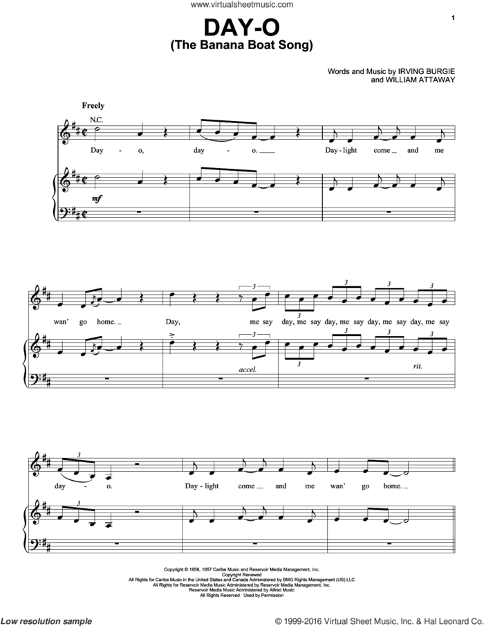 Day-O (The Banana Boat Song) sheet music for voice, piano or guitar by Harry Belafonte, Irving Burgie and William Attaway, intermediate skill level