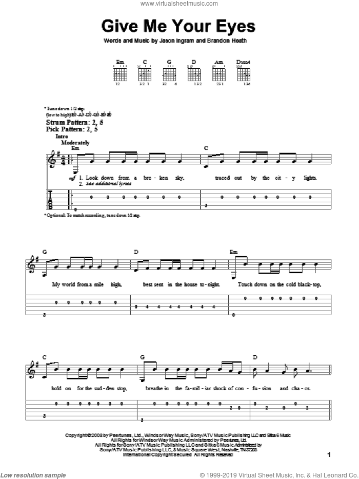 Give Me Your Eyes sheet music for guitar solo (easy tablature) by Brandon Heath and Jason Ingram, easy guitar (easy tablature)