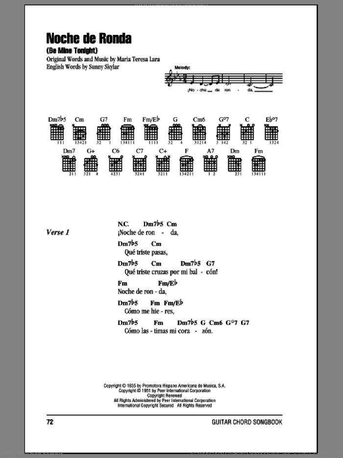 Noche De Ronda (Be Mine Tonight) sheet music for guitar (chords) by Maria Teresa Lara and Sunny Skylar, wedding score, intermediate skill level