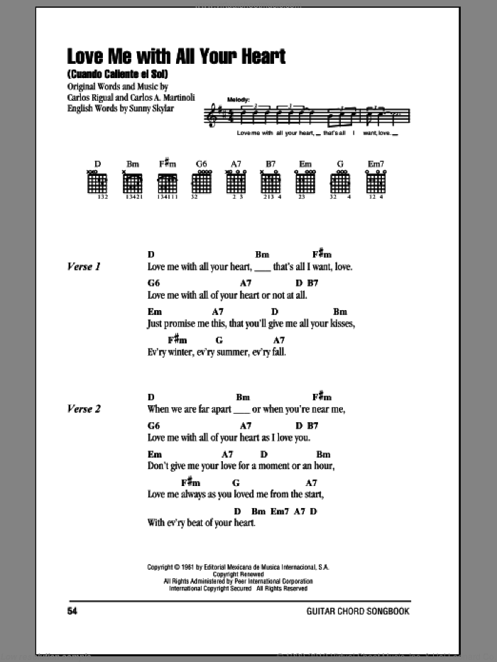 Love Me With All Your Heart (Cuando Calienta El Sol) sheet music for guitar (chords) by The Ray Charles Singers, Carlos A. Martinoli, Carlos Rigual and Sunny Skylar, intermediate skill level
