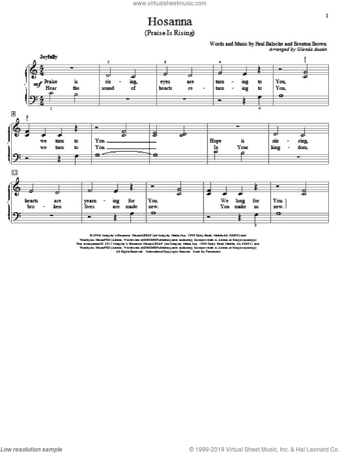 Hosanna (Praise Is Rising) sheet music for piano solo (elementary) by Paul Baloche, Glenda Austin and Brenton Brown, beginner piano (elementary)