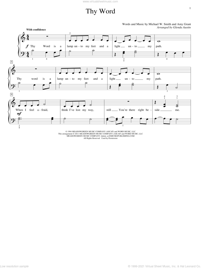 Thy Word sheet music for piano solo (elementary) by Amy Grant, Glenda Austin, Ginny Owens and Michael W. Smith, beginner piano (elementary)