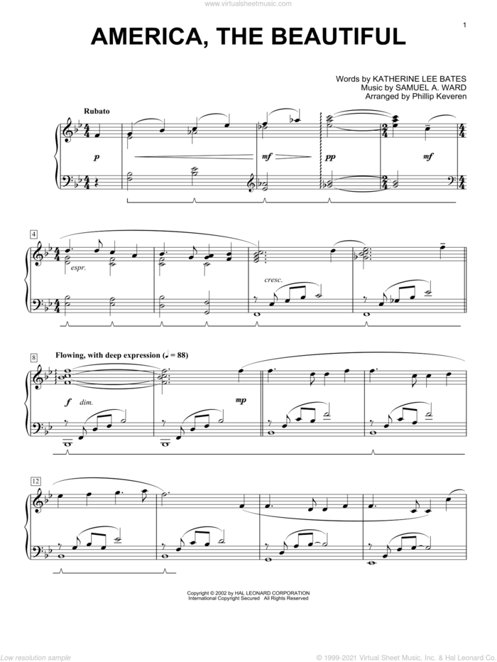 America, The Beautiful sheet music for piano solo by Phillip Keveren, Katharine Bates, Katherine Lee Bates and Samuel Augustus Ward, intermediate skill level
