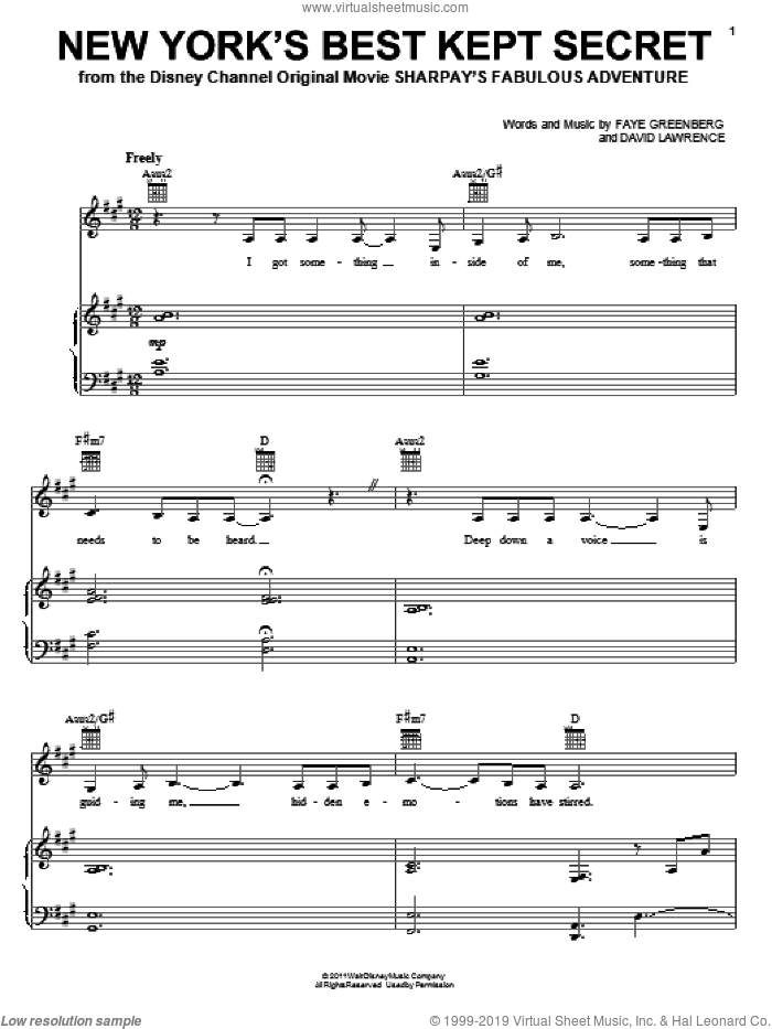 New York's Best Kept Secret sheet music for voice, piano or guitar by Faye Greenberg, Ashley Tisdale and David Lawrence, intermediate skill level