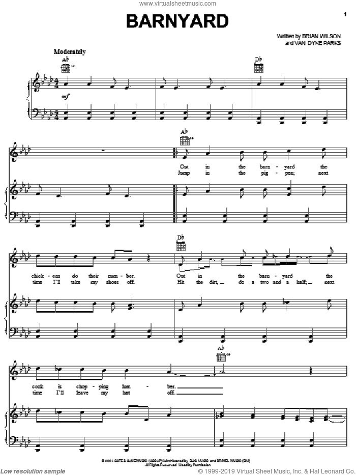 Barnyard sheet music for voice, piano or guitar by Brian Wilson and Van Dyke Parks, intermediate skill level