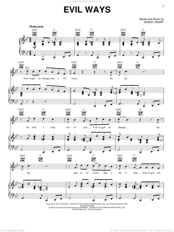 Evil Ways sheet music for voice, piano or guitar by Carlos Santana and Sonny Henry, intermediate skill level