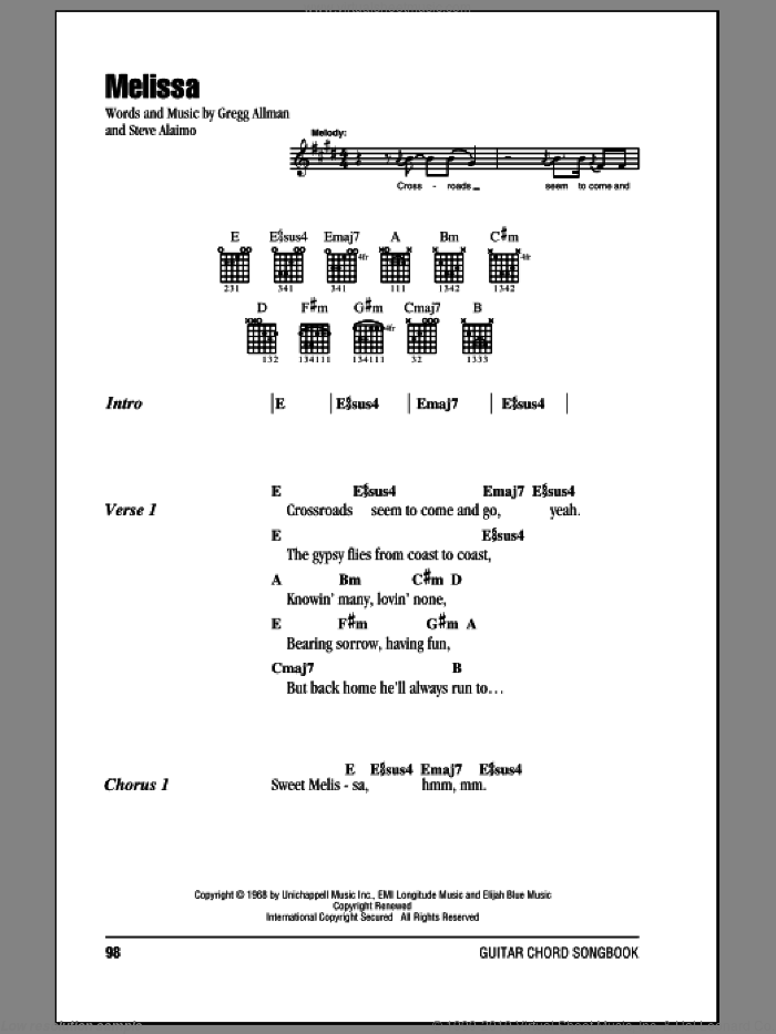 Melissa sheet music for guitar (chords) by Allman Brothers Band, The Allman Brothers Band, Gregg Allman and Steve Alaimo, intermediate skill level