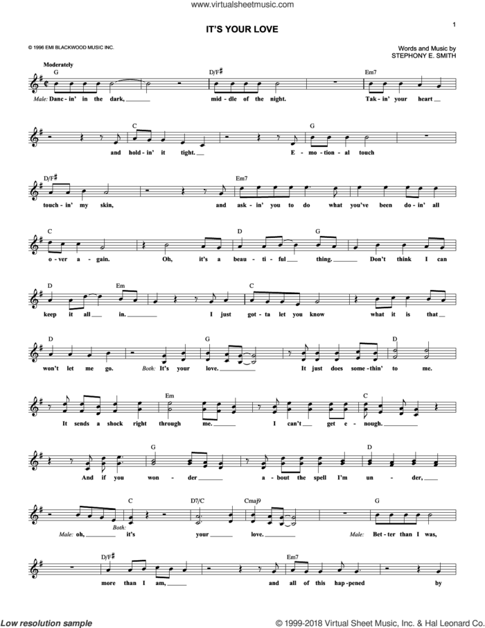 It's Your Love sheet music for voice and other instruments (fake book) by Faith Hill with Tim McGraw and Stephony E. Smith, intermediate skill level