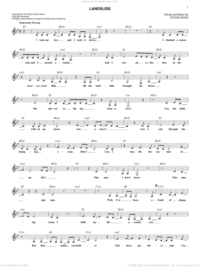 Landslide sheet music for voice and other instruments (fake book) by Fleetwood Mac and Stevie Nicks, intermediate skill level