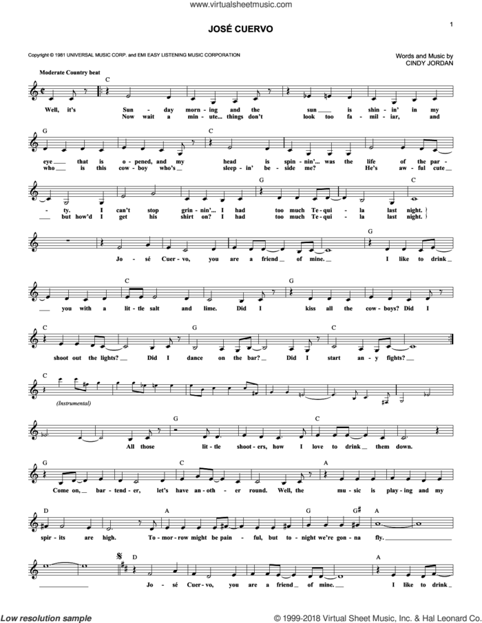 Jose Cuervo sheet music for voice and other instruments (fake book) by Shelly West and Cindy Jordan, intermediate skill level