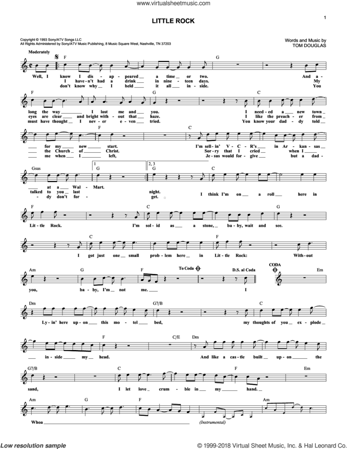 Little Rock sheet music for voice and other instruments (fake book) by Collin Raye and Tom Douglas, intermediate skill level