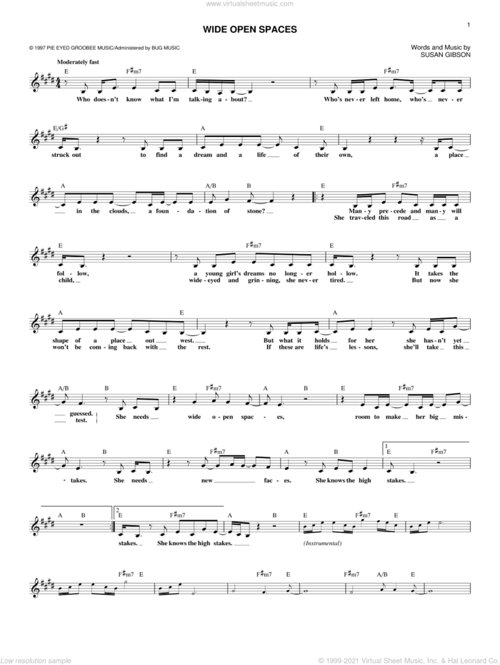 Wide Open Spaces sheet music for voice and other instruments (fake book) by The Chicks, Dixie Chicks and Susan Gibson, intermediate skill level