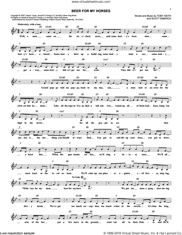 Beer For My Horses sheet music for voice and other instruments (fake book) by Toby Keith and Scotty Emerick, intermediate skill level