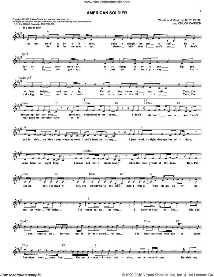 American Soldier sheet music for voice and other instruments (fake book) by Toby Keith and Chuck Cannon, intermediate skill level
