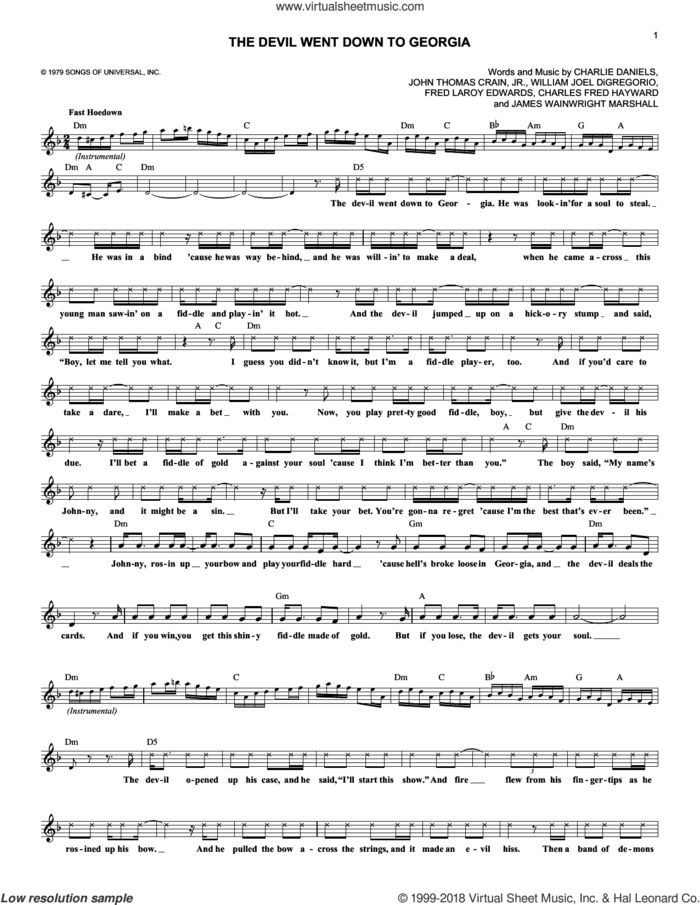 The Devil Went Down To Georgia sheet music for voice and other instruments (fake book) by Charlie Daniels Band, Charles Fred Hayward, Charlie Daniels, Fred Laroy Edwards, James Wainwright Marshall, John Thomas Crain, Jr. and William Joel DiGregorio, intermediate skill level