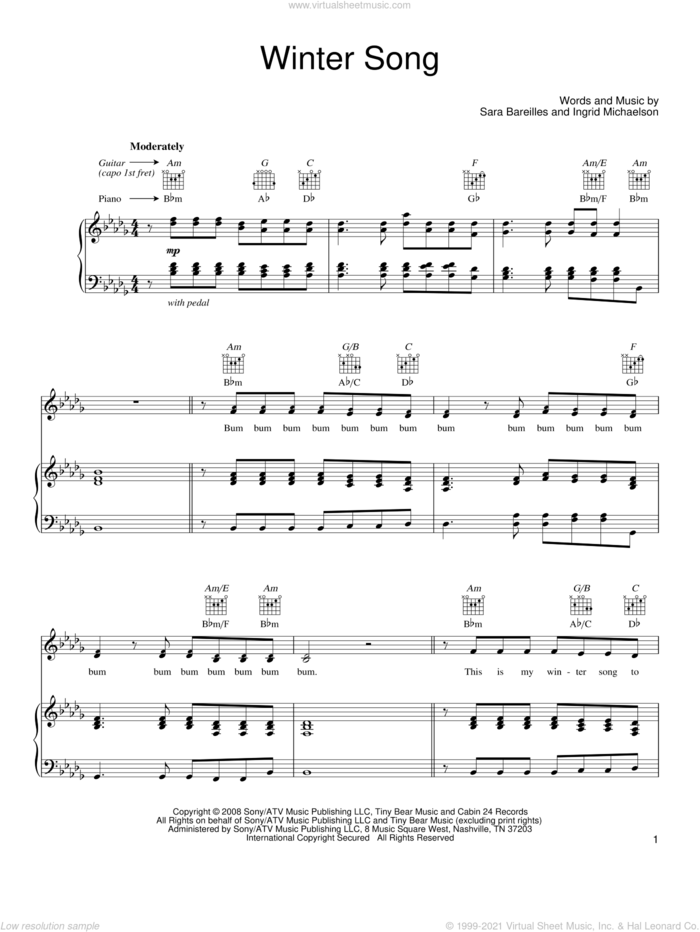 Winter Song sheet music for voice, piano or guitar by Sara Bareilles and Ingrid Michaelson, intermediate skill level