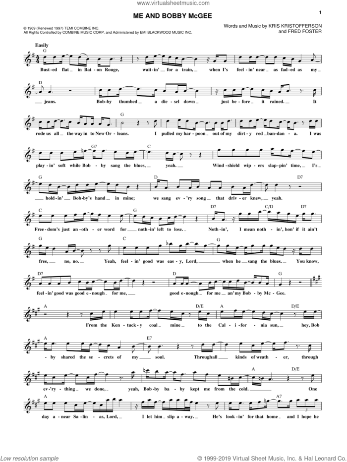 Me And Bobby McGee sheet music for voice and other instruments (fake book) by Janis Joplin, Fred Foster and Kris Kristofferson, intermediate skill level