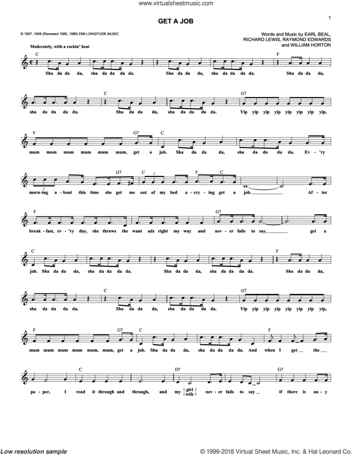 Get A Job sheet music for voice and other instruments (fake book) by The Silhouettes, Earl Beal, Raymond Edwards, Richard Lewis and William Horton, intermediate skill level