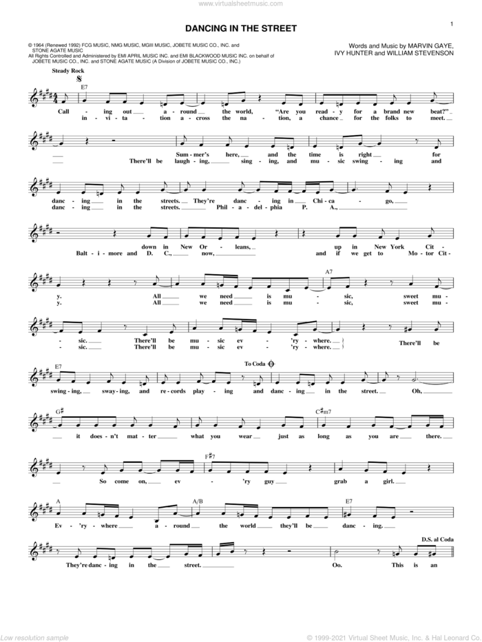Dancing In The Street sheet music for voice and other instruments (fake book) by Martha & The Vandellas, Ivy Hunter, Marvin Gaye and William Stevenson, intermediate skill level