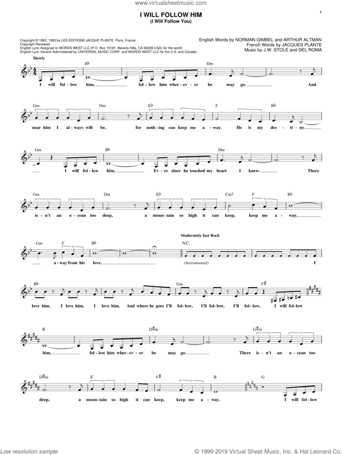 I Will Follow Him (I Will Follow You) sheet music for voice and other instruments (fake book) by Little Peggy March, Arthur Altman, Del Roma, J.W. Stole, Jacques Plante and Norman Gimbel, intermediate skill level