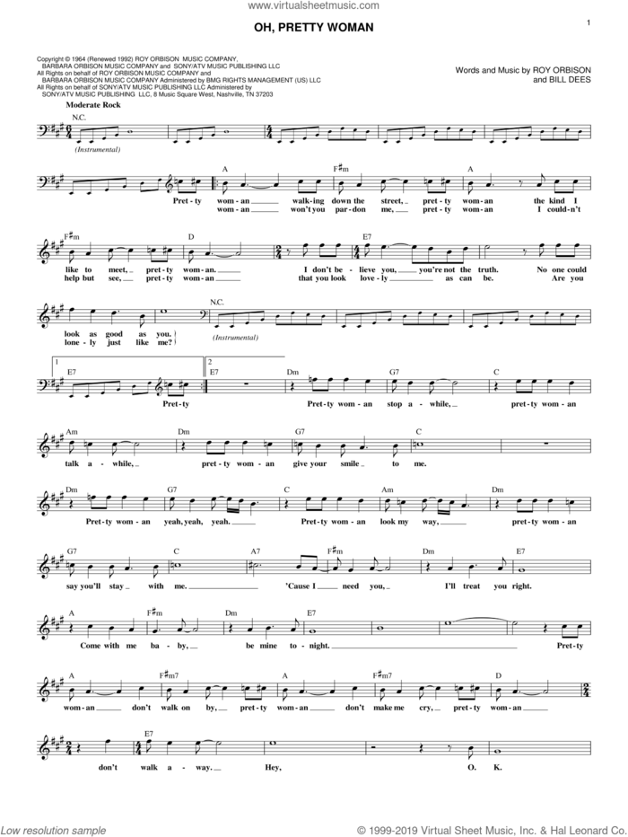 Oh, Pretty Woman sheet music for voice and other instruments (fake book) by Roy Orbison, Edward Van Halen and Bill Dees, intermediate skill level