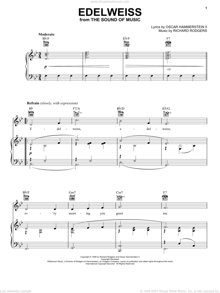 Edelweiss (from The Sound of Music) sheet music for voice, piano or guitar by Rodgers & Hammerstein, The Sound Of Music (Musical), Oscar II Hammerstein and Richard Rodgers, intermediate skill level