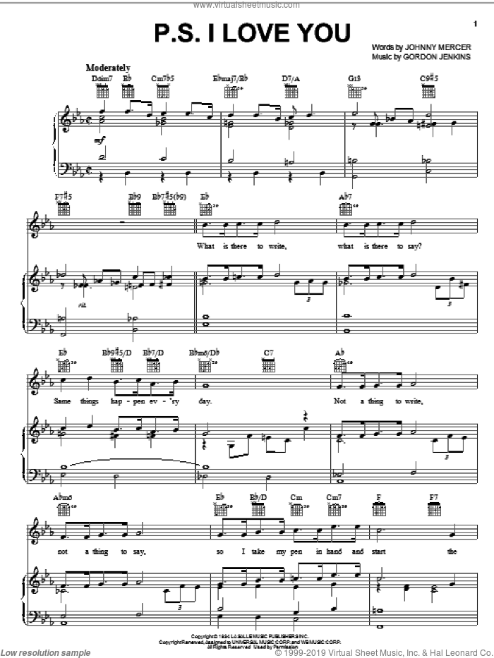 P.S. I Love You sheet music for voice, piano or guitar by The Hilltoppers, Billie Holiday, Bing Crosby, Gordon Jenkins and Johnny Mercer, wedding score, intermediate skill level