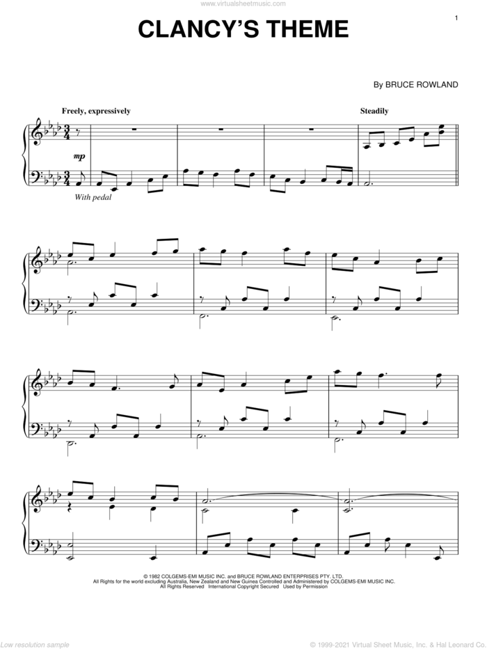 Clancy's Theme sheet music for piano solo by Bruce Rowland and The Man From Snowy River (Movie), intermediate skill level