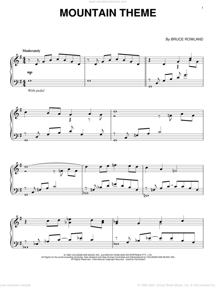Mountain Theme sheet music for piano solo by Bruce Rowland and The Man From Snowy River (Movie), intermediate skill level