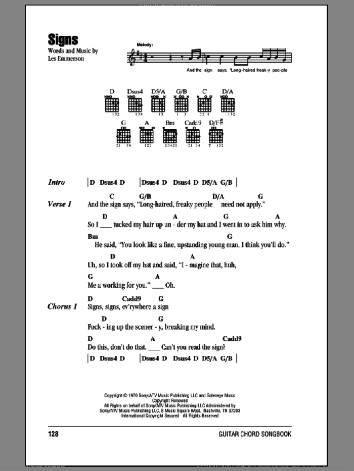Signs sheet music for guitar (chords) by Five Man Electrical Band, Tesla and Les Emmerson, intermediate skill level